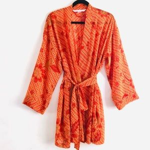 victoria's secret Orange Floral Chiffon Sheer Robe